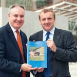 Minister Richard Lochhead (l) and Jim McLaren of Quality Meat Scotland at the launch of the Beef 2020 report.