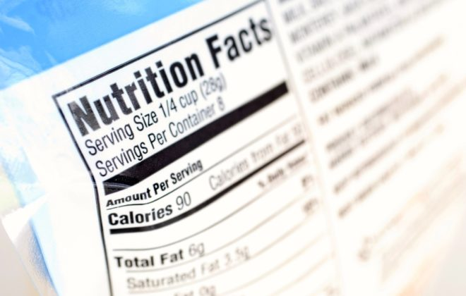 A close up on a nutrition facts label
