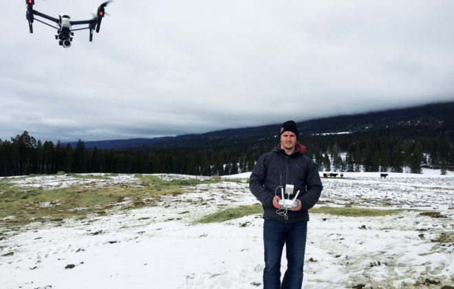 Student Chris Solecki pilots one of the school's drones.