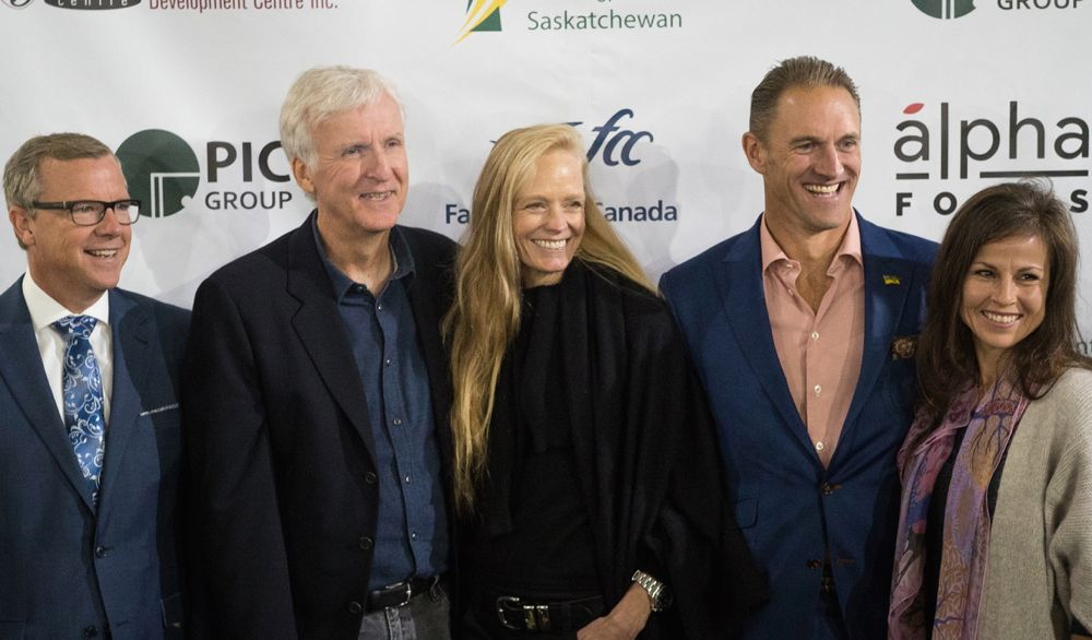 Saskatchewan Premier Brad Wall, Verdient's James Cameron and Suzy Amis Cameron and PIC's Greg and Olivia Yuel (l-r) announce the opening of the Verdient plant at Vanscoy. (Golden Media photo by Chad Reynold)