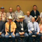 The Canadian Simmental Association board of directors. Back row (l to r): Larry Barkley, Marlin Leblanc, Byron Johnson, Roger Deeg, Frank Robblee, and Francis Gagnon. Front row (l to r): Bruce Holmquist (CSA general manager), Blair McRae, Lee McMillen, Garth Rancier, and Barb Judd (CSA office manager).