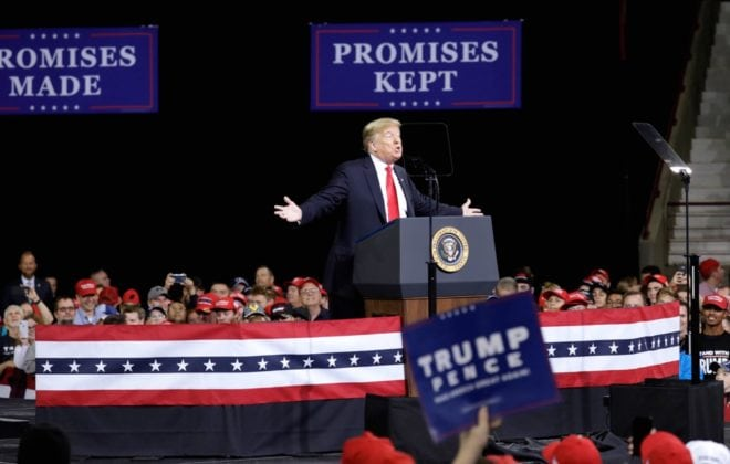 U.S. President Donald Trump speaks at the Make America Great Again campaign rally in Topeka, Kansas, U.S. October 6, 2018. REUTERS/Yuri Gripas