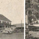 The historic 105 Mile House (l) and the four-place Beechcraft Bononza.