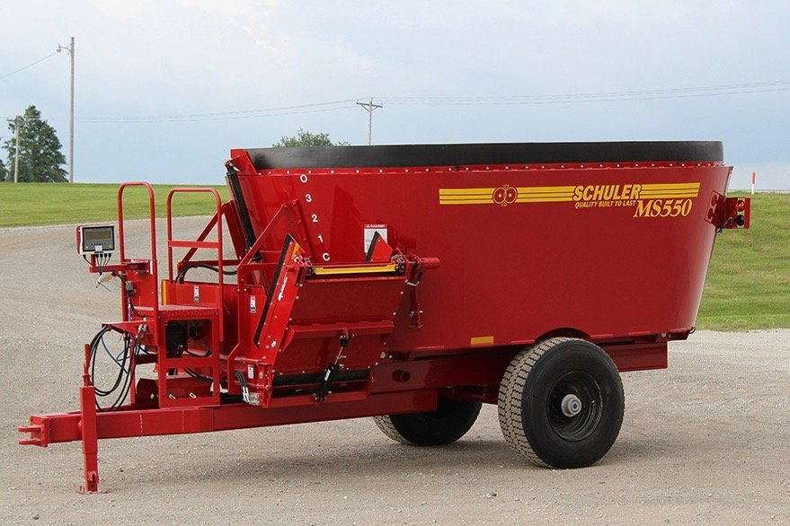 Schuler's MS550 multi-screw vertical mixer has a mixing capacity of 550 cubic feet. (SchulerMfg.net)