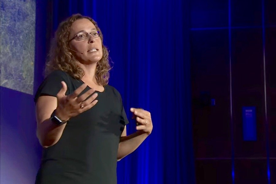 Angela Bedard-Haughn, shown here delivering a TEDx Talk in Saskatoon in September 2019, becomes the University of Saskatchewan's new dean of agriculture in August. (Video screengrab from Ted.com)