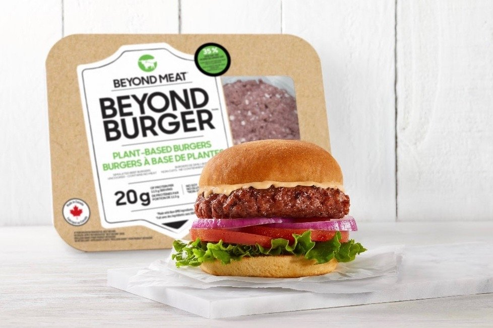 Beyond Meat's 'latest iteration' of its Beyond Burger gets to carry a Made in Canada label. (Photo courtesy Beyond Meat via Globe Newswire)