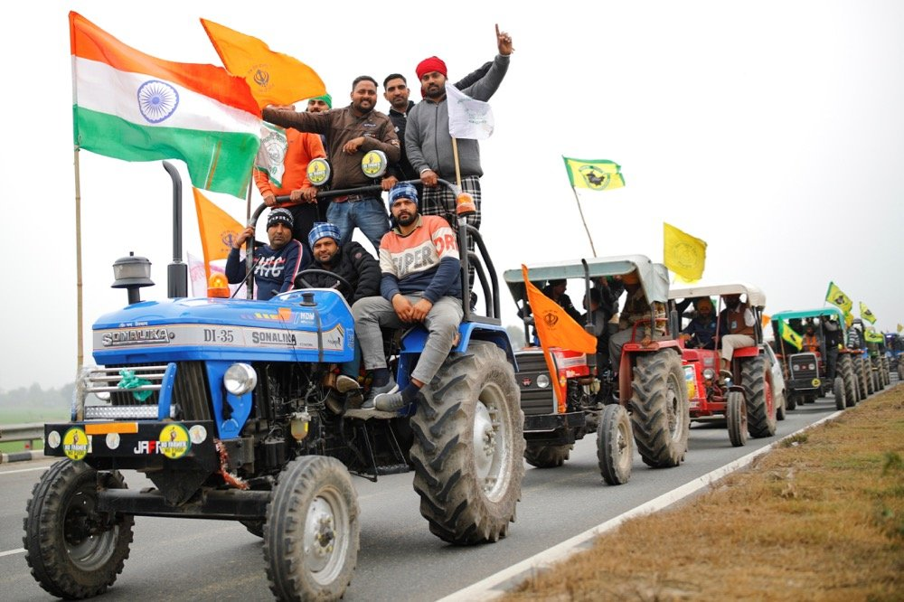Farmers participate in a tractor rally against newly passed farm bills, on a highway on the outskirts of New Delhi, India on Jan. 7, 2021. (Photo: Reuters/Adnan Abidi)